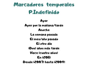 Conjugación y usos del pretérito indefinido.